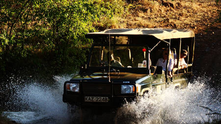 Elsa's-Kopje-Meru-Game-Drive-Through-River